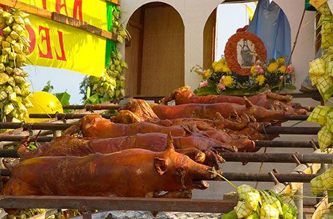 lechon roasted pig Philippines